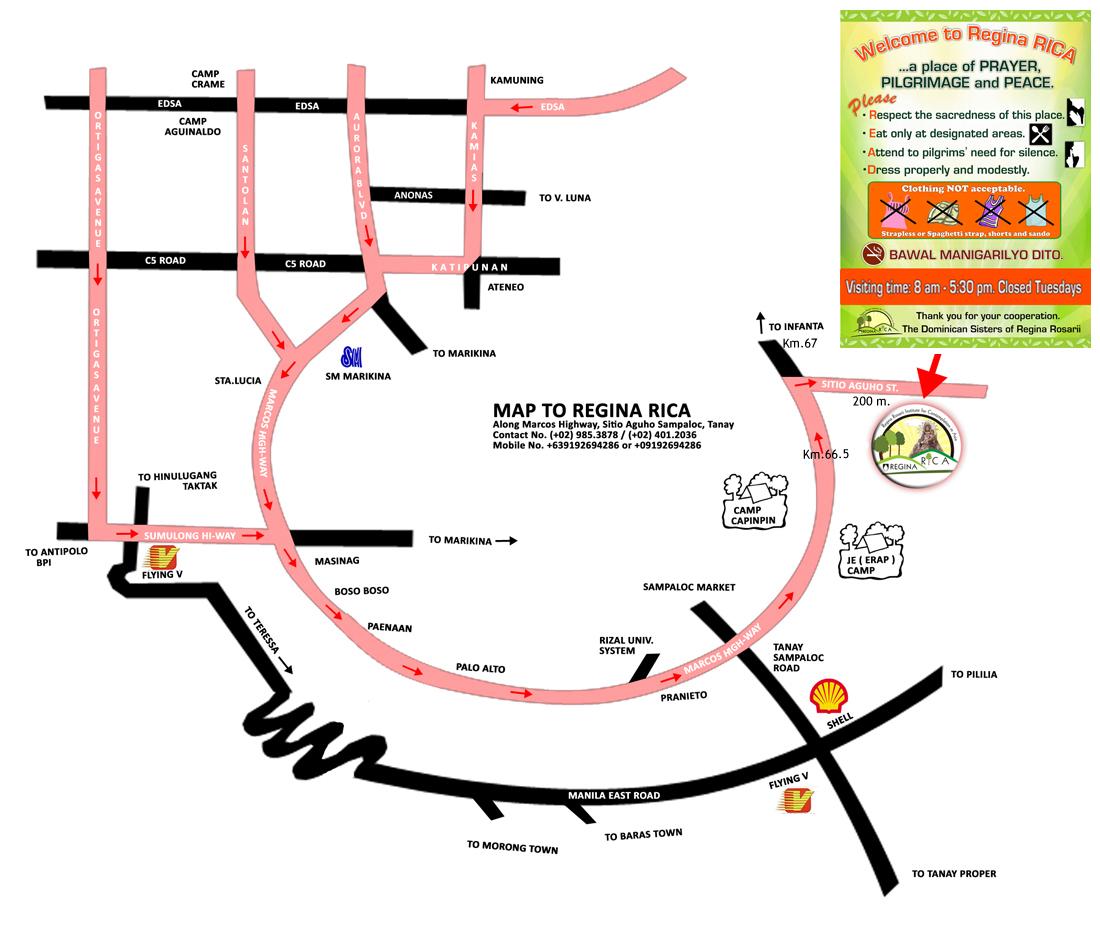 Location Map Regina Rosarii Institute for Contemplation in Asia